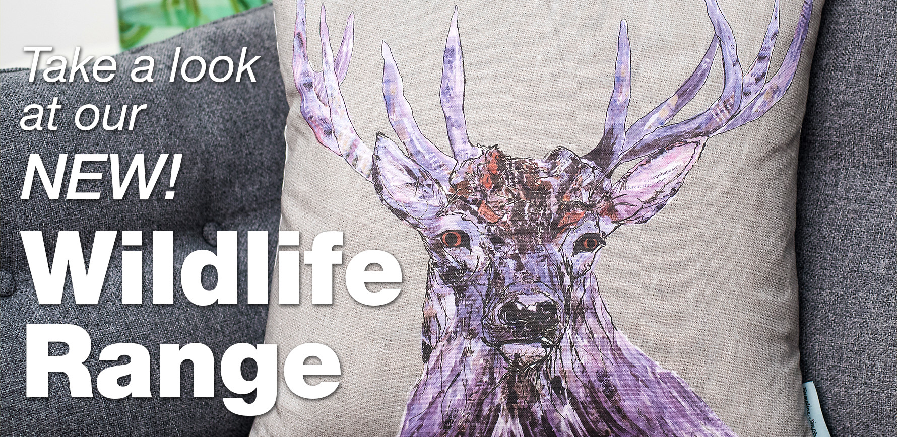 Stag cushion from Emmeline Simpson's new wildlife range.
