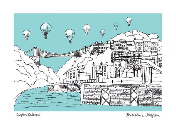 Clifton Balloons Aqua A3 Print