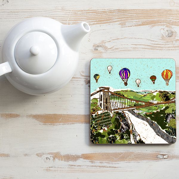 Balloons over The Bridge Teapot Stand Square