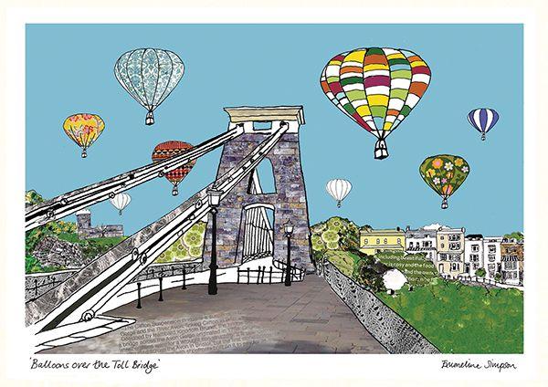 Balloons over the Toll Bridge Bristol A3 Print
