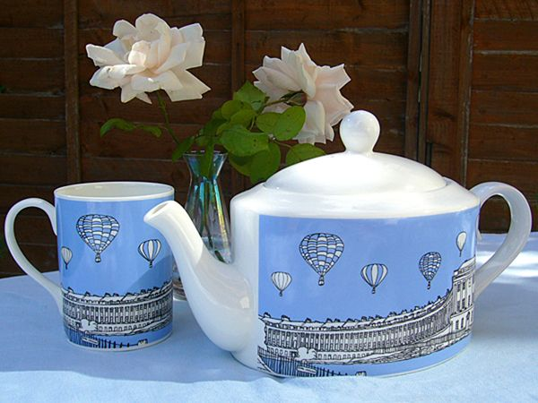 Royal Crescent Bath Bone China Teapot Blue