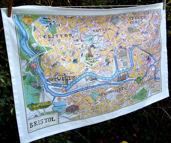 Bristol Map Tea Towel