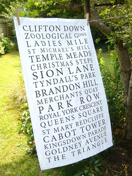 Bristol Places Tea Towel White