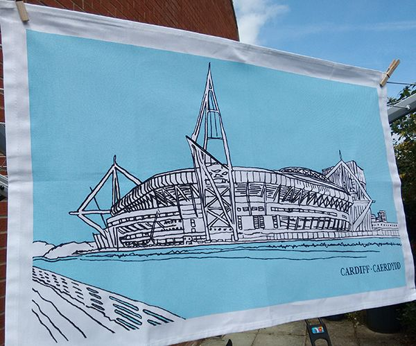 Cardiff Principality Stadium Tea Towel, Blue