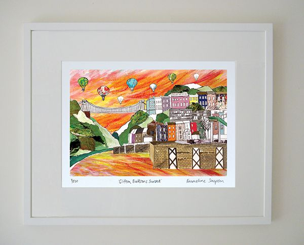 Clifton Balloons Sunset Limited Edition Bristol Print