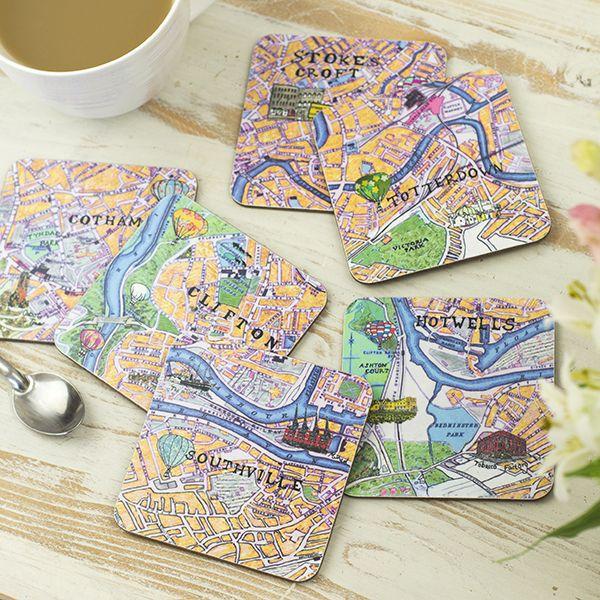 Set of Six Bristol Map Coasters