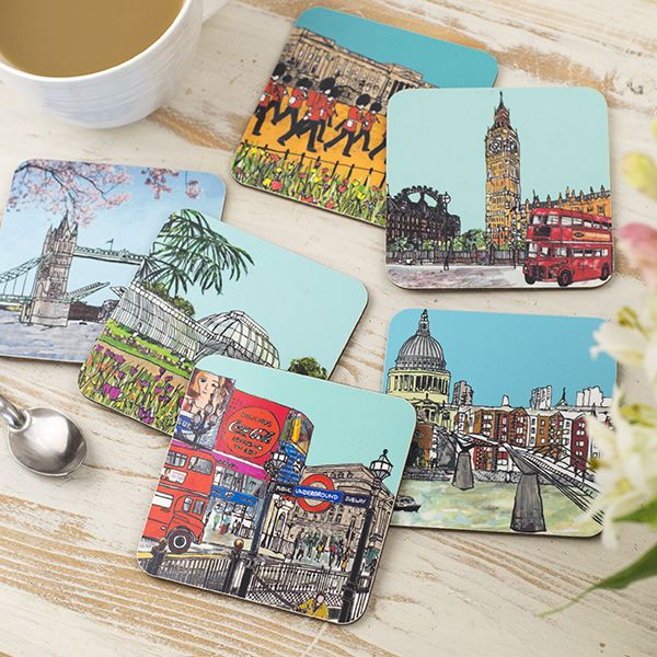 Set of Six London Coasters