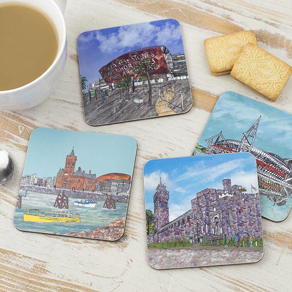 Set of Four Cardiff Coasters