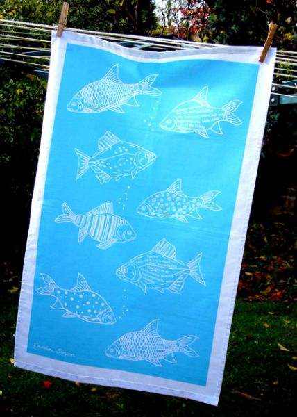 Fish Tea Towel Blue