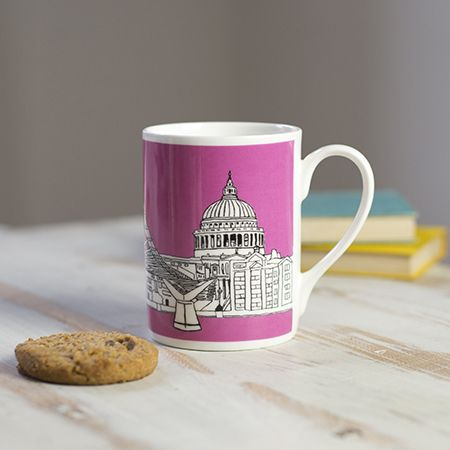 Millennium Bridge London Mug Pink