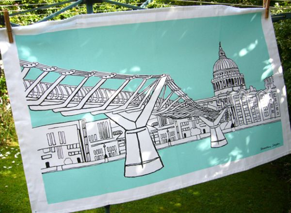 London Tea Towel Millennium Bridge Aqua