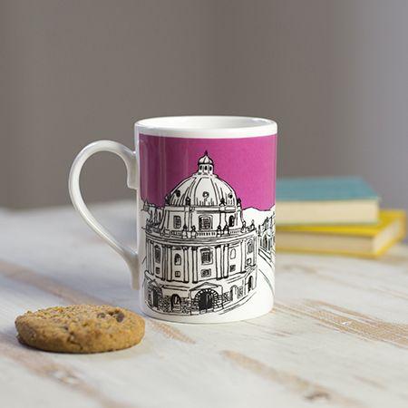 Oxford Skyline Bone China Mug Pink