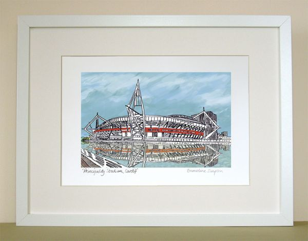 Cardiff Principality Stadium A4 signed print