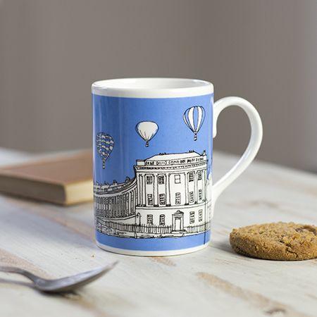Royal Crescent Bath Bone China Mug Blue