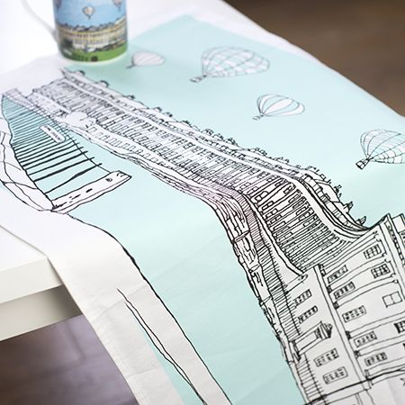 Royal Crescent Bath Tea Towel Aqua