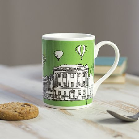 Royal Crescent Bath Bone China Mug Green