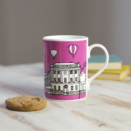 Royal Crescent Bath Bone China Mug Pink