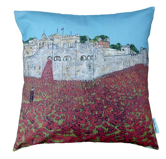 Tower of London Poppies Cushion