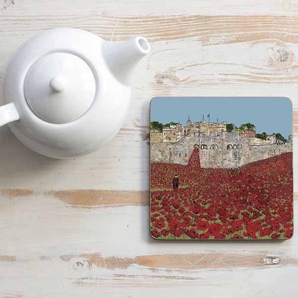 Poppies at the Tower Teapot Stand Square