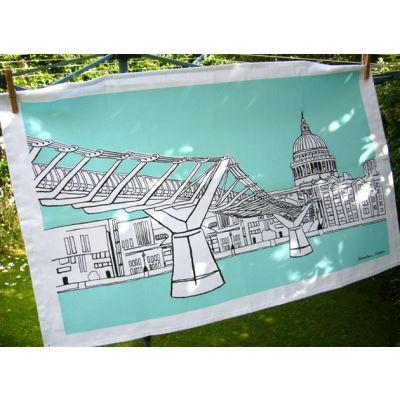 London Tea Towel Millennium Bridge Aqua