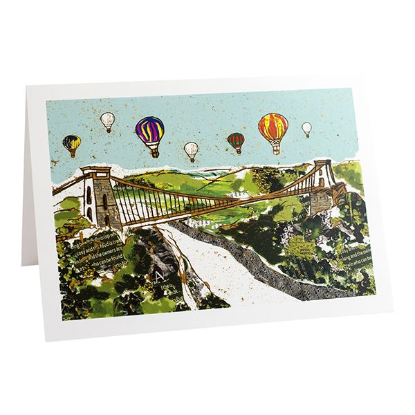 Balloons over the Bridge Bristol Greetings Card