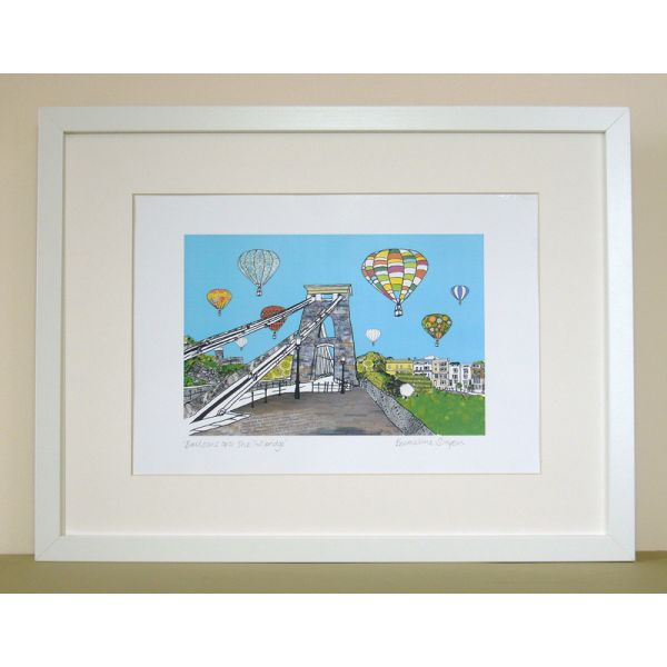 Balloons over the Toll Bridge Personalised Bristol Print
