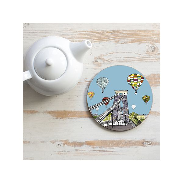 Balloons Over the Toll Bridge Teapot Stand Circular