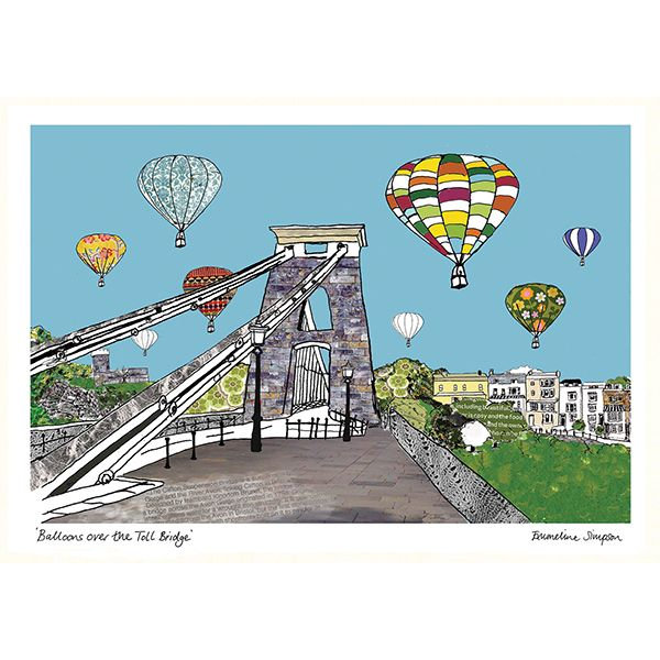 Balloons over the Toll Bridge Bristol A3 Print
