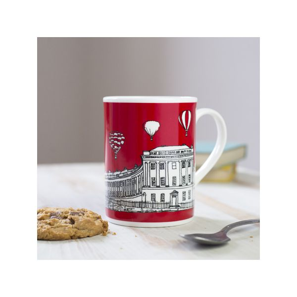 Royal Crescent Bath Bone China Mugs Red