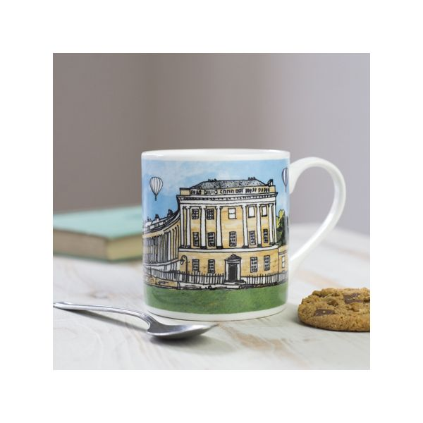 Royal Crescent Bath Colour Bone China Mug