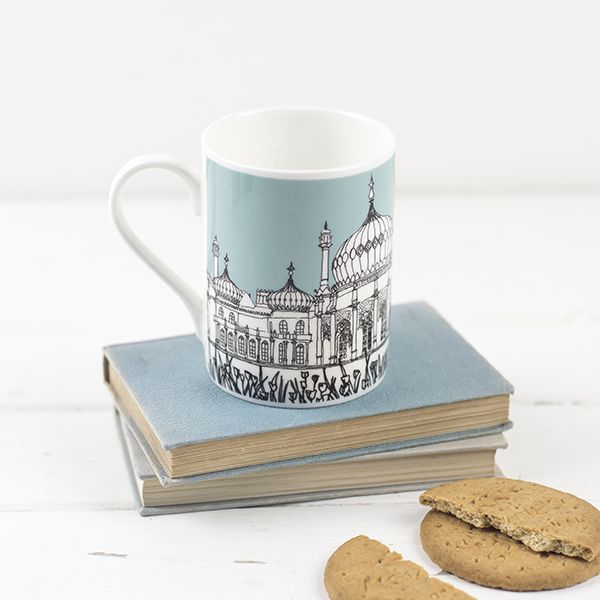Brighton Bone China Mug Aqua