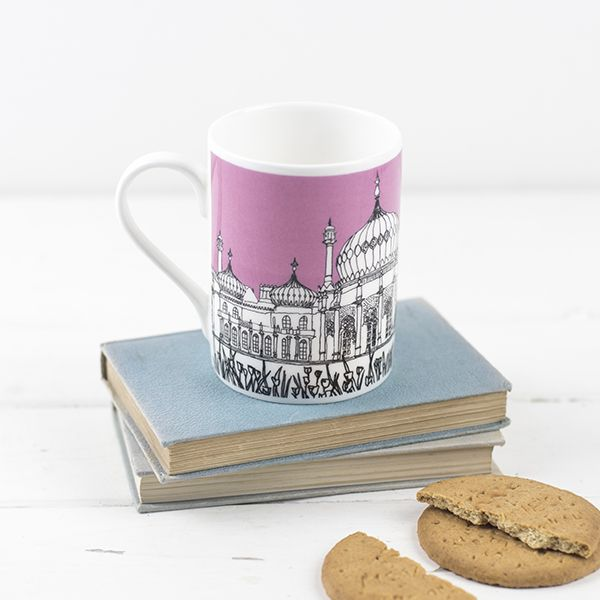 Brighton Bone China Mug Pink