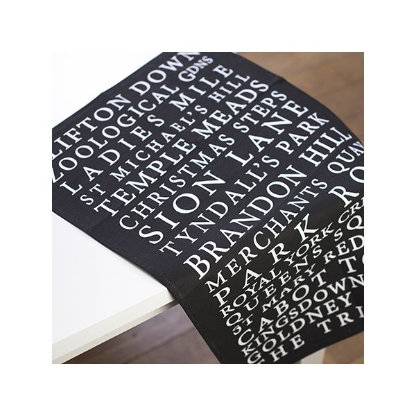 Bristol Places Tea Towel Black