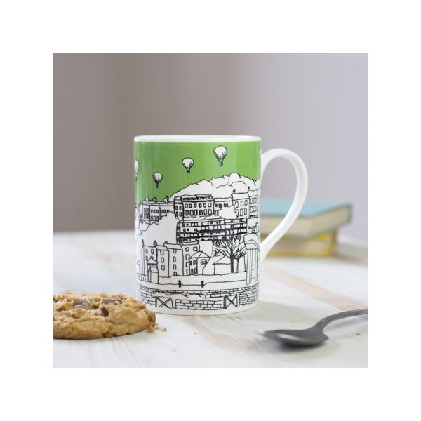 Clifton Balloons Green Bone China Mug