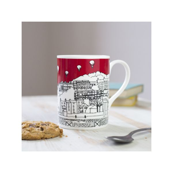 Clifton Balloons Red Bone China Mug