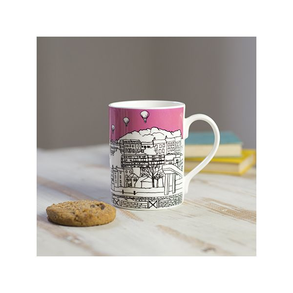 Clifton Balloons Pink Bone China Mug