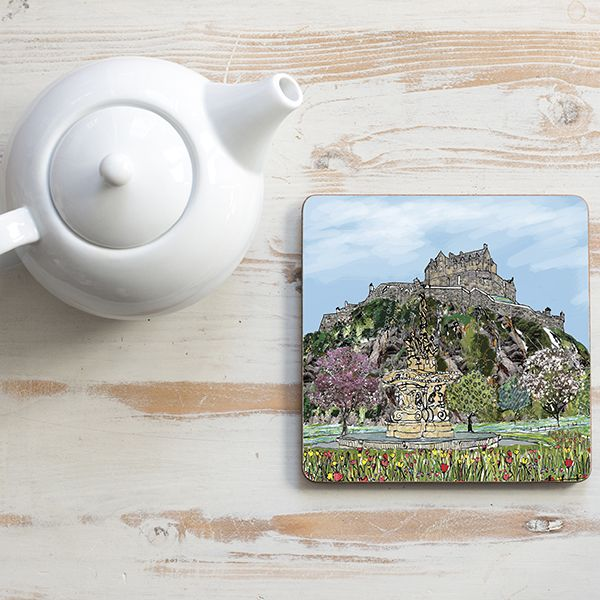 Edinburgh Castle Teapot Stand Square