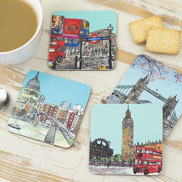 Set of Four London Coasters