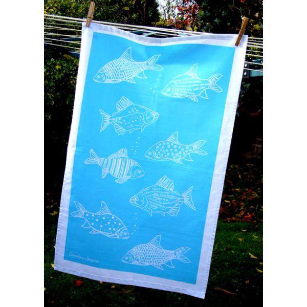 Fish Tea Towel Blue