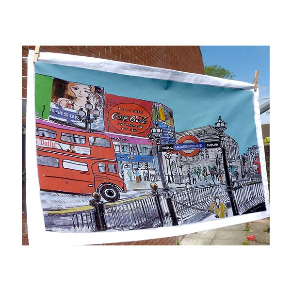 Piccadilly Circus London Tea Towel