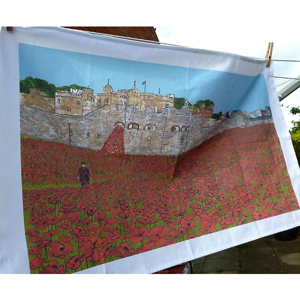 Poppies at the Tower of London Tea Towel
