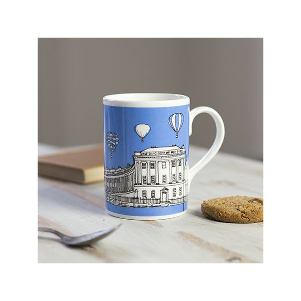 Royal Crescent Bath Bone China Mug Blue